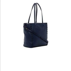 Loeffler Randall Stud Blue Leather Work Tote Bag